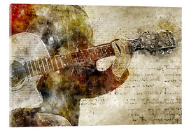 Cuadro de metacrilato  Guitar musician in abstract modern vintage look - Michael artefacti