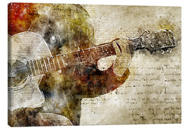 Lienzo  Guitar musician in abstract modern vintage look - Michael artefacti