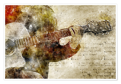 Póster Guitar musician in abstract modern vintage look