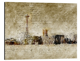 Cuadro de aluminio  Seattle skyline in modern abstract vintage look - Michael artefacti
