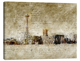 Lienzo  Seattle skyline in modern abstract vintage look - Michael artefacti