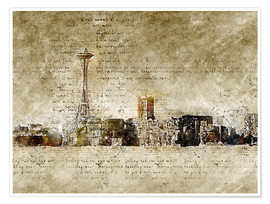 Póster  Seattle skyline in modern abstract vintage look - Michael artefacti