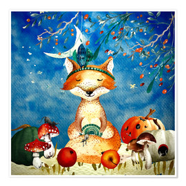 Póster woodland friends in autumn- the fox