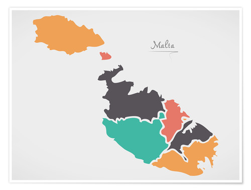 Póster Malta map modern abstract with round shapes