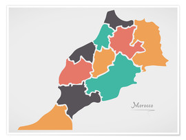 Póster Morocco map modern abstract with round shapes
