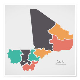 Póster  Mali map modern abstract with round shapes - Ingo Menhard