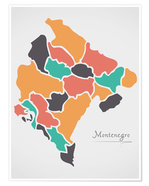Póster Montenegro map modern abstract with round shapes