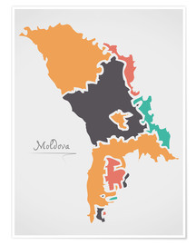 Póster Moldova map modern abstract with round shapes