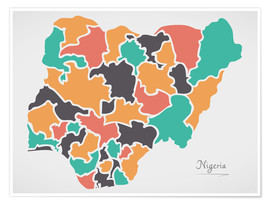Póster Nigeria map modern abstract with round shapes