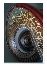 Póster Spiral stairs with ornamented handrail