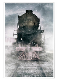 Póster Steam train at the snowing day