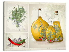 Lienzo  Kitchen herbs collage