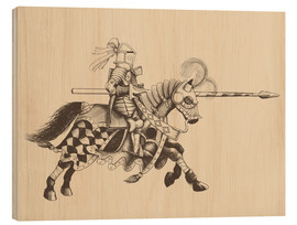 Cuadro de madera  Knight with armor and horse