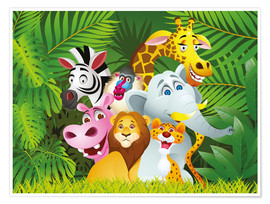 Póster  Animales de la jungla - Kidz Collection