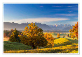 Póster  Autumn in Bavaria with view to Zugspitze - Dieter Meyrl