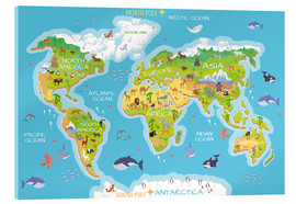 Cuadro de metacrilato  Mapa del mundo con animales (inglés) - Kidz Collection