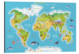 Aluminio-Dibond  Mapa del mundo con animales (inglés) - Kidz Collection