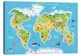 Lienzo  Mapa del mundo con animales (inglés) - Kidz Collection