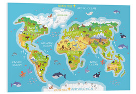 Cuadro de PVC  Mapa del mundo con animales (inglés) - Kidz Collection