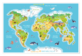 Póster  Mapa del mundo con animales (inglés) - Kidz Collection