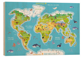 Madera  Mapa del mundo con animales (inglés) - Kidz Collection