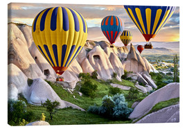 Lienzo  Hot air balloons over Goreme tuff rock formations - imageBROKER