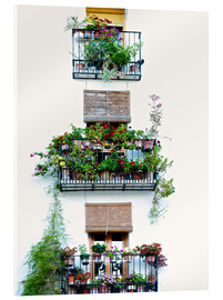 Metacrilato  Facade with balconies full of flowers in Valencia