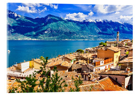 Cuadro de metacrilato  Beautiful Limone village, panoramic view, Lago di Garda, Italy