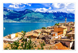 Póster  Beautiful Limone village, panoramic view, Lago di Garda, Italy