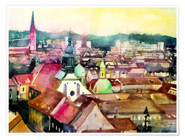 Póster Graz, view to the cathedral