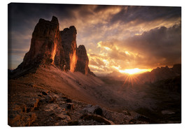 Lienzo  Three Peaks Dolomites Sunset - Christian Möhrle