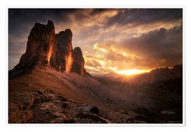 Póster  Three Peaks Dolomites Sunset - Christian Möhrle