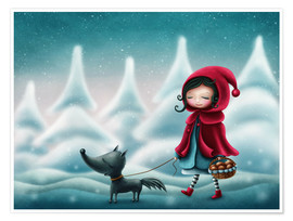 Póster Little red riding hood and the wolf