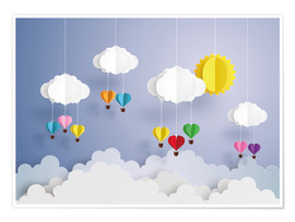 Póster  Balloon ride in the clouds - Kidz Collection