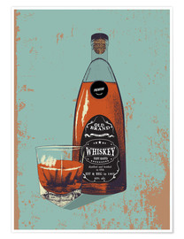 Póster  Whiskey bottle and glass