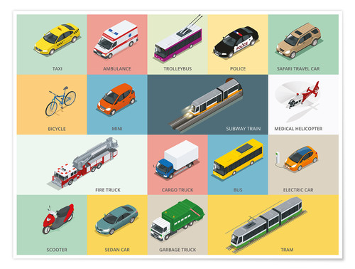 Póster Colorful vehicles