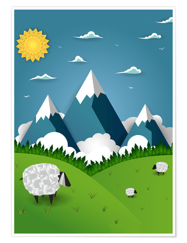 Póster Paper landscape with sheep