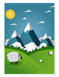 Póster  Paper landscape with sheep - Kidz Collection