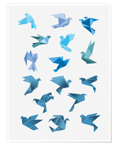 Póster Origami Peace Doves