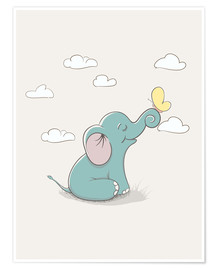 Póster  Little elephant with butterfly - Kidz Collection