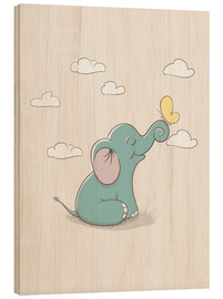 Cuadro de madera  Little elephant with butterfly - Kidz Collection