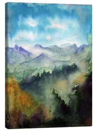 Lienzo  Mountain panorama watercolor
