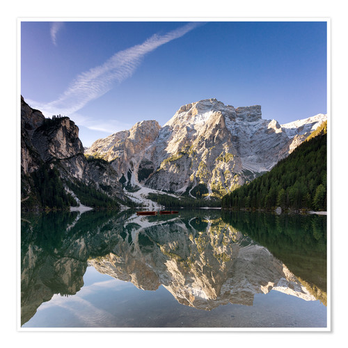 Póster Reflection at Lake Prags, Soth Tyrol