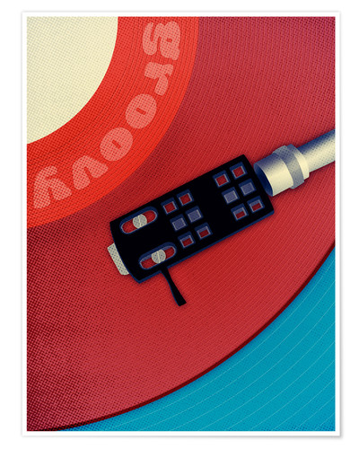Póster groovy turn table