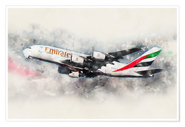 Póster  Emirates A380 - airpowerart