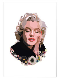 Póster Marilyn Monroe With Flowers