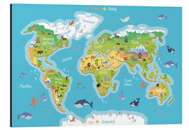 Aluminio-Dibond  Mapa del mundo - Italiano - Kidz Collection