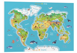 Cuadro de PVC  Mapa del mundo - Italiano - Kidz Collection