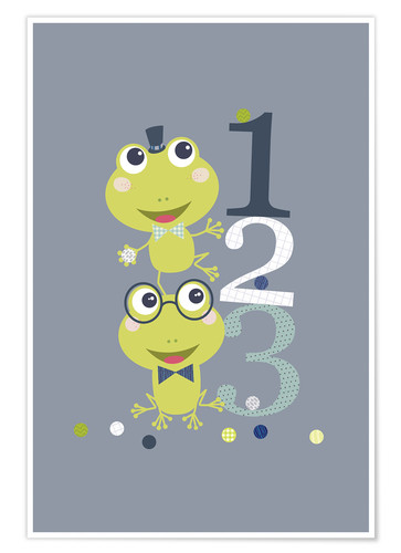 Póster Frogs playing with numbers