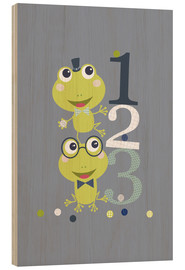 Cuadro de madera  Frogs playing with numbers - Jaysanstudio